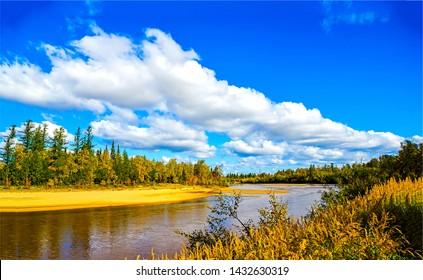 Autumn forest river landscape view. Autumn forrest river landscape. Autumn river nature view. Autumn river landscape