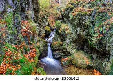 Autumn in forest - stream with waterfall, HDR image