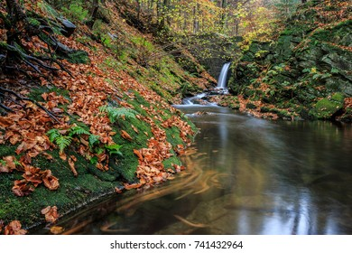 Autumn in forest - stream with waterfall, HDR panorama