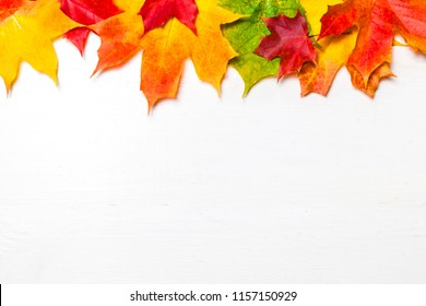 Autumn frame with  colorful marple leaves on white wood  background with Copy space.  Flat lay, top view