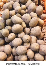 Autumn fresh tasty potatoes in the market
