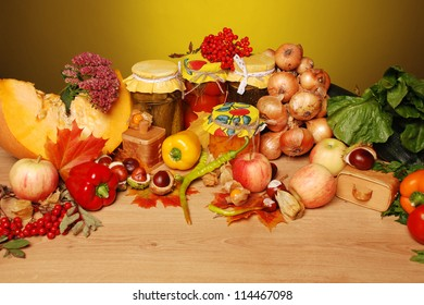 Autumn fresh vegetables and fruit in soft light