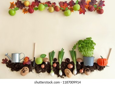 Autumn fruits growing from earth patch with apple orchard frame