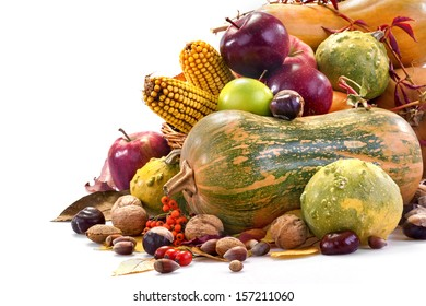 Autumn fruits, various fruits and vegetables