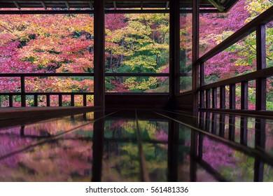 Autumn garden of Rurikoin temple, kyoto, japan