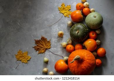 Autumn goodies flat lay with pumpkins horizontal view