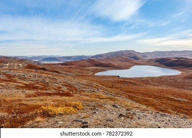 Autumn greenlandic wastelands landscape with lakes and mountains in the background, Kangerlussuaq, Greenland