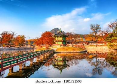 autumn in gyeongbokgung at seoul korea