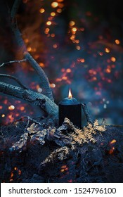 autumn Halloween Background. mysterious dark forest with black witchcraft candle. witchcraft magic ritual. copy space