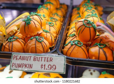 Autumn and haloween cookies at a local farmers market in Wisconsin