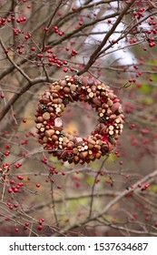 Autumn hand made wreath of chestnuts, acorns,  cones, dried flowers on the tree of hawthorn background in garden, outdoors and space, vertical photo, daylight