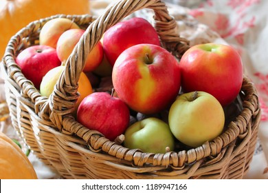 Autumn harvest. Fall still life with green and red apples in the basket. Basket with fruits.