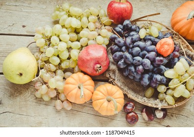 Autumn harvest fruits and vegetables/toned photo