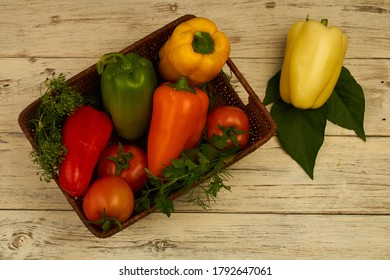 Autumn harvest of peppers and tomatoes