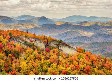 Autumn hiking on Cragway trail down Grandfather Mountain Blue Ridge Mountains of North Carolina