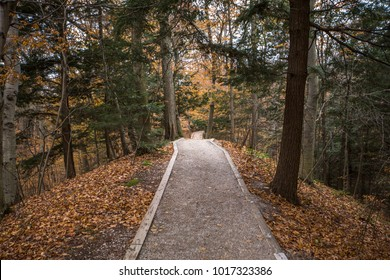 Autumn hiking trail at Rosy Mound natural area in Grand Haven, Michigan