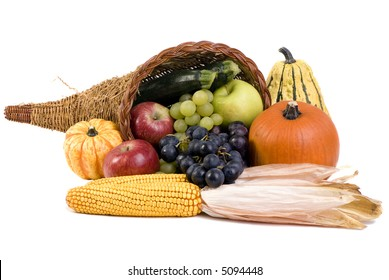 A autumn horn of plenty. Cornucopia full of fruits and vegetables.