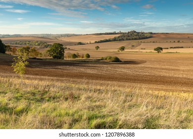 An Autumn image of a section of farmland in England, shot after the harvest and preparing for the new season's growth. Shot in Rutland, England, UK.