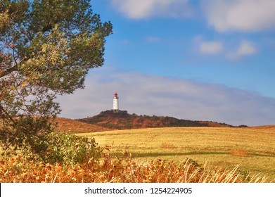 Autumn image of white lighthouse Dornbusch on Hiddensee island on Baltic sea, in Mecklenburg-Vorpommern, Northern Germany
