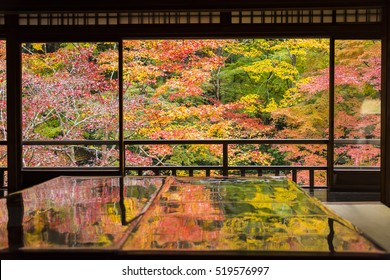 Autumn Japanese garden of Rurikoin temple, Kyoto, Japan