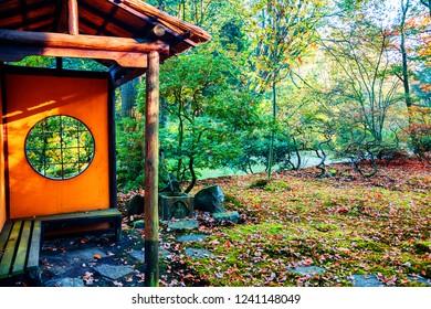 autumn in Japanese park, small tea huis , the Hague