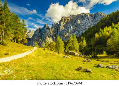 Autumn in the Julian Alps, the pass Wrszicz, Slovenia