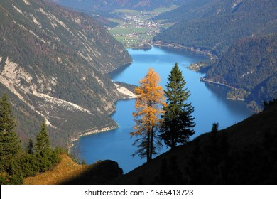 autumn at lake Achensee with view to Achenkirch
