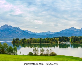 Autumn at the lake and alps