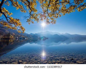 Autumn at Lake Kochel or Kochelsee Lake, Kochel am See, Upper Bavaria, Bavaria, Germany, Europe