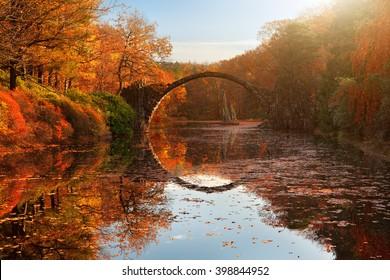 Autumn at the lake, Rakotzbrucke, Gablenz, Saxony, Germany