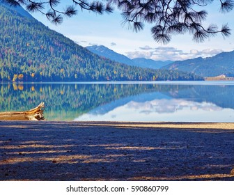 Autumn at Lake Wenatchee State Park near Leavenworth, Washington and the Cascade mountains.