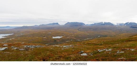Autumn landscape in Abisko national park in Sweden.
