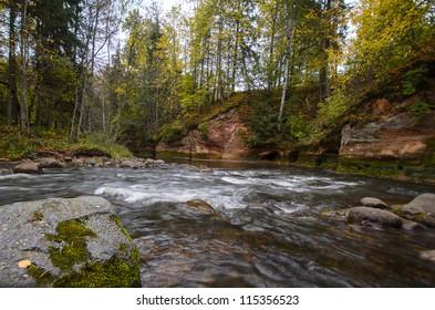 Autumn landscape at the Amata River