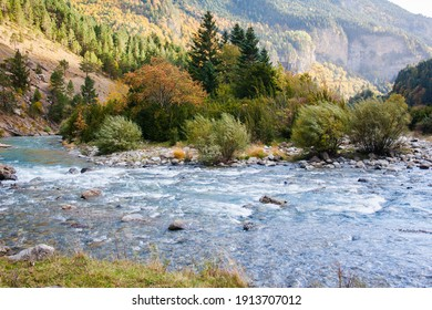 Autumn landscape with the Ara river in the Bujaruelo valley, Pyrenees. Mountain nature. Area bordering Ordesa and Monte Perdido National Park, Huesca, Spain.