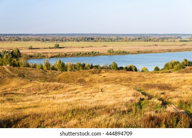 autumn landscape of bank of river Oka near Konstantinovo village, Russia