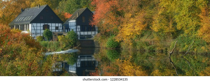 Autumn Landscape in Bergisches Land at Wupper River in Solingen,Wipperaue,North Rhine westphalia,Germany