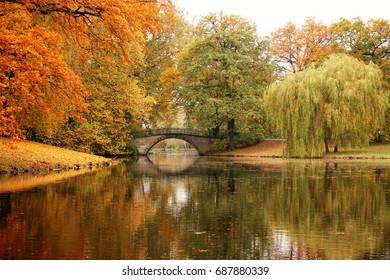 Autumn landscape with Bridge over the water