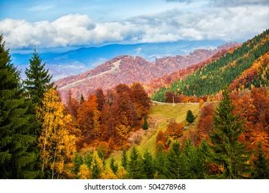 Autumn landscape in carpathian mountains