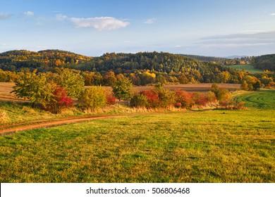 Autumn landscape in Central Bohemia Region, Czech Republic