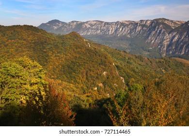 Autumn landscape in Cernei Mountains, Carpathians Range, Romania, Europe