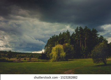 Autumn landscape with clouds on a cool day before a thunderstorm