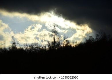 Autumn landscape concept. Sun makes its way through menacing clouds in sky. Black clouds in autumn sky. Silhouettes of black trees without leaves.