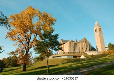 Autumn landscape of Cornell University