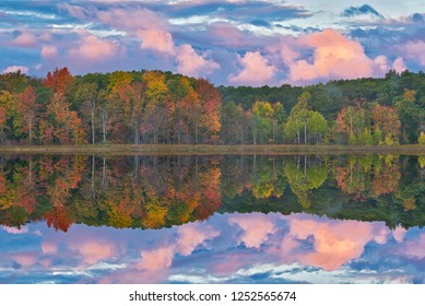 Autumn landscape at dawn of the shoreline of Deep Lake with mirrored reflections in calm water, Yankee Springs State Park, Michigan, USA