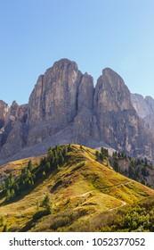 Autumn landscape in Dolomites mountains, Passo Gardena, Italia