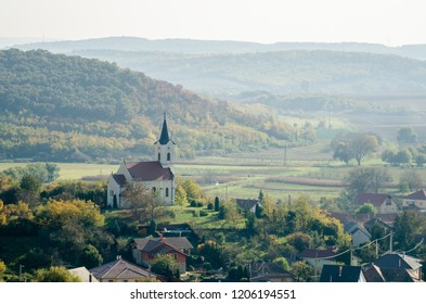 Autumn landscape of an European village from above - drone sight