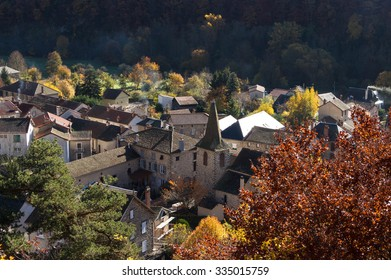 Autumn landscape in Ferriere Sainte Mary village, Auvergne region, France.