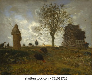 AUTUMN LANDSCAPE WITH A FLOCK OF TURKEYS, by Jean-Francois Millet, 1872-73, French oil painting. Millet painted a small hill from an impressionist inspired low point of view, with hamlet of Chailly-en