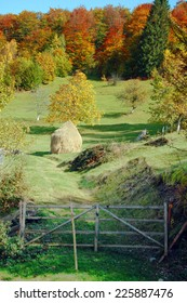 autumn landscape with haystack
