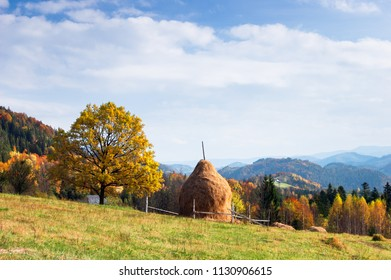 Autumn landscape with a haystack. Mountain village
